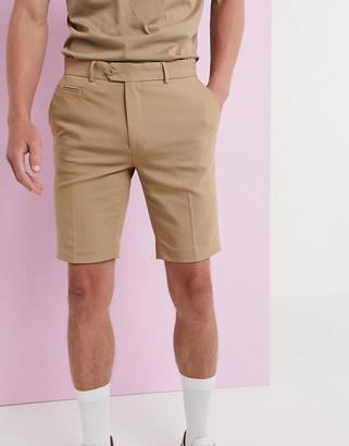 Asos Design DESIGN slim smart shorts in stone