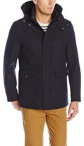 Cole Haan Men's Waterproof Wool Jacket with Removable Hood, Faux Shearling Lining