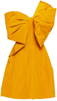 Oscar de la Renta One-shoulder Bow-embellished Cotton-blend Moire Mini Dress