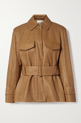 Vince Belted Leather Jacket - Camel