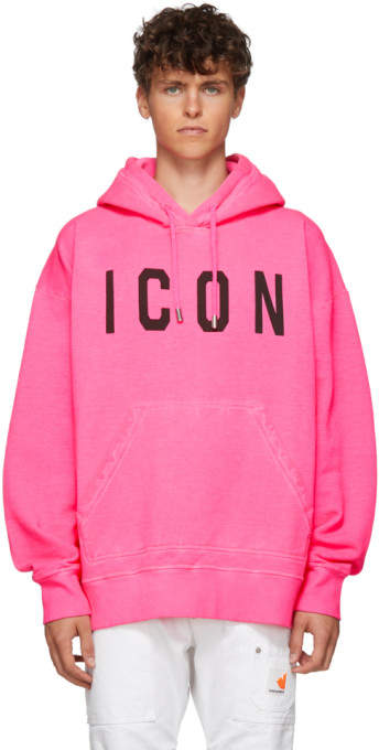 531623378 Pink Fluo Slouch Fit Icon Hoodie