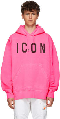DSQUARED2 Pink Fluo Slouch Fit Icon Hoodie