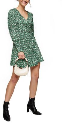 Topshop Floral Print Long Sleeve Wrap Minidress
