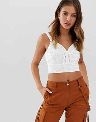 New Look bralet with lace up in broderie