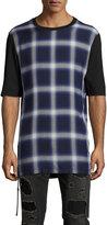 Helmut Lang Plaid Combo Drawcord T-Shirt