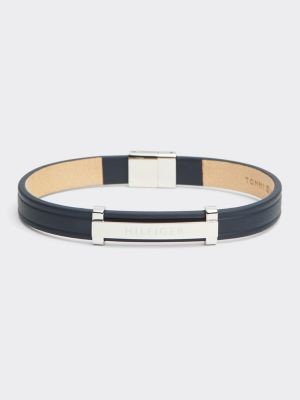 Tommy Hilfiger Navy Thin ID Leather Metal Bracelet