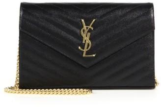 Saint Laurent Medium Matelasse Leather Wallet-On-Chain