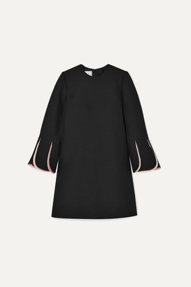 Valentino Wool And Silk-blend Crepe Mini Dress - Black