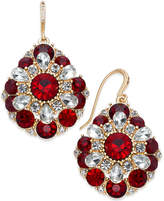 Charter Club Gold-Tone Clear & Red Crystal Cluster Drop Earrings, Created for Macy's
