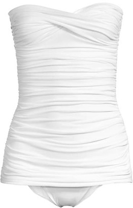 Norma Kamali Walter Mio Strapless Ruched One-Piece Swimsuit