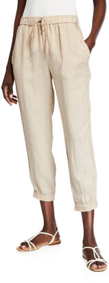 Johnny Was Plus Size Kemi Cropped Linen Jogger Pants