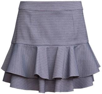 Manley Luna Ruffled Mini Skirt White & Navy