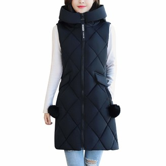 LAEMILIA Women Stand Collar Vest Padded Sleeveless Hooded Zip Closure Removable Pompom Decoration Casual Outerwear Sport Outdoor Vest for Ladies Black