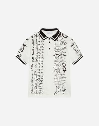 Dolce & Gabbana Pique Polo Shirt With Logo Print