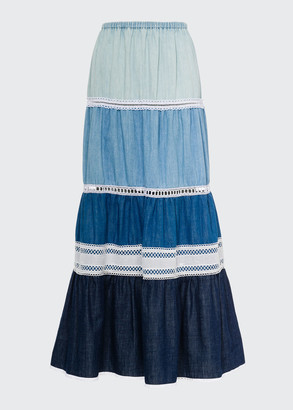 Tiered Embroidered Maxi Skirt