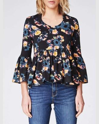 Nicole Miller Vintage Floral Bell Sleeve Jersey Top