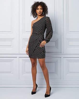 Le Château Foil Dot Chiffon One Shoulder Cocktail Dress