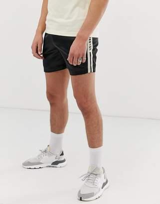 Night Addict taped satin running shorts-Black