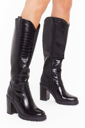 Nasty Gal Womens Snake a Hint Faux Leather Knee-High Boots - Black - 3