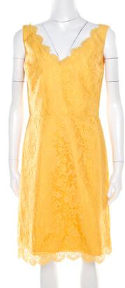 Monique Lhuillier ML By Yellow Floral Lace Scalloped Trim Detail V-Neck Dress M