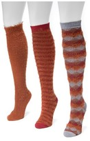 Muk Luks Women's 3 Pair Pack Fuzzy Yarn Knee High Socks - Multicolor One Size