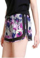 Joe Fresh Women's Floral Mesh Active Short, Purple (Size M)