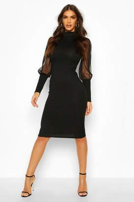 boohoo Turtle Neck Rib Dress With Mesh Sleeves