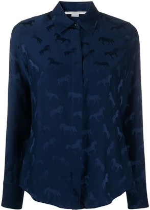 Stella McCartney Horses-Jacquard Long-Sleeve Shirt