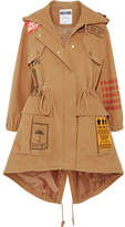 Moschino Appliquéd Printed Brushed-cotton Hooded Parka - Camel