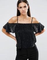 Asos Sequin Cold Shoulder Cami Top