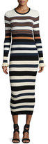 Opening Ceremony Long-Sleeve Striped Maxi Dress, Harvest White/Multicolor