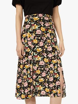 Warehouse Riviera Floral Print Midi Skirt, Black/Multi