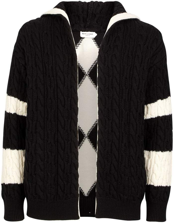 Saint Laurent Hooded Cable Knit Cardigan