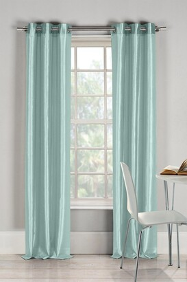 Duck River Textile Bali Faux Silk Grommet Panel Curtains - Set of 2 - Aqua Blue
