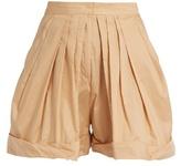 Vika Gazinskaya Pleated-front cotton shorts