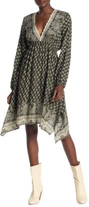 Luna Chix Emma Long Sleeve Plunging Knit Sharkbite Hem Dress