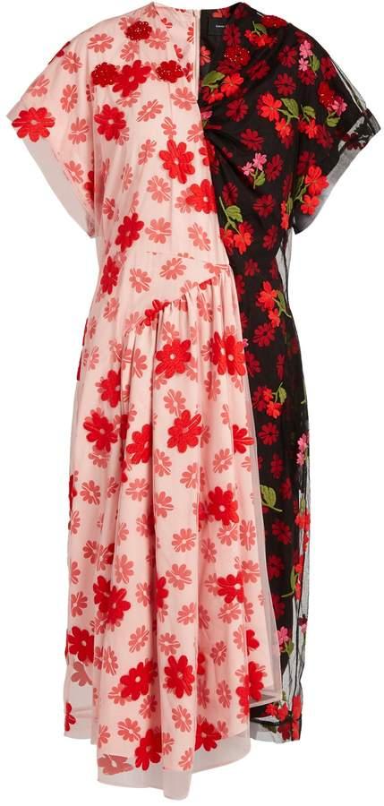 Simone Rocha Floral-print tulle and crepe de Chine dress