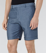 Reiss Reiss Meadow - Linen And Cotton Shorts In Blue