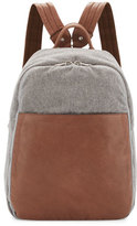 Brunello Cucinelli Men's Leather & Wool-Cashmere Tech Backpack, Tan/Gray