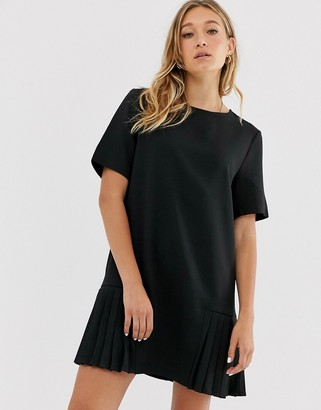 NA-KD Na Kd mini pleated panel shift dress with short sleeves in black