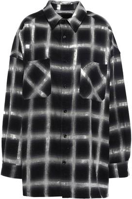 Amiri Glittered Checked Cotton-flannel Shirt