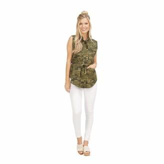 Mud Pie Womens The Dean Camo Utility Vest L Green