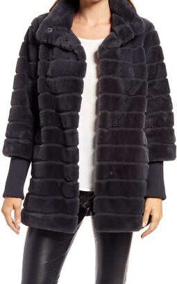 Ellen Tracy Grooved Knit Cuff Faux Fur Coat