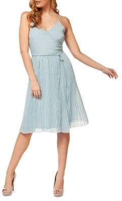 Dex Pleated Self-Tie A-Line Dress