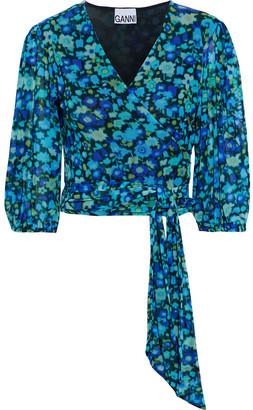 Ganni Cropped Floral-print Stretch-mesh Wrap Top