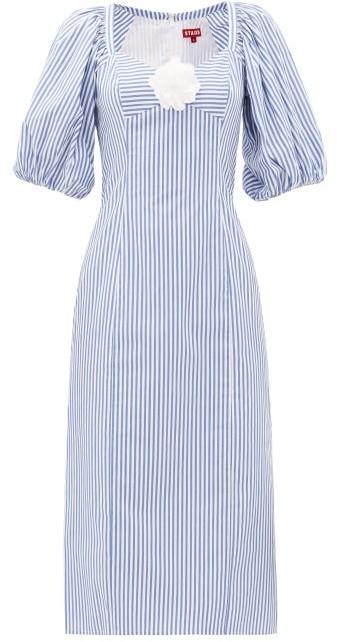 STAUD Striped Cotton-poplin Midi Dress - Blue White