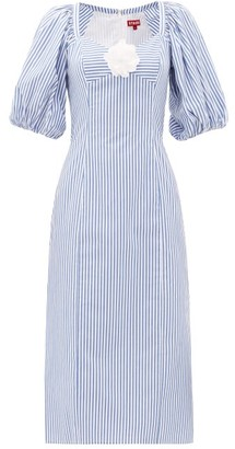 STAUD Striped Cotton-poplin Midi Dress - Blue White