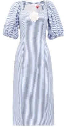 STAUD Striped Cotton-poplin Midi Dress - Womens - Blue White