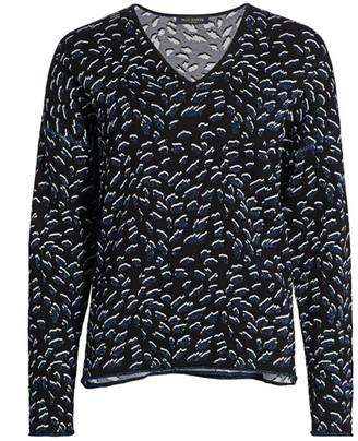 Piazza Sempione Jacquard Lurex Wool-Blend V-Neck Sweater