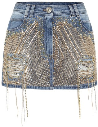 Balmain Embellished denim miniskirt